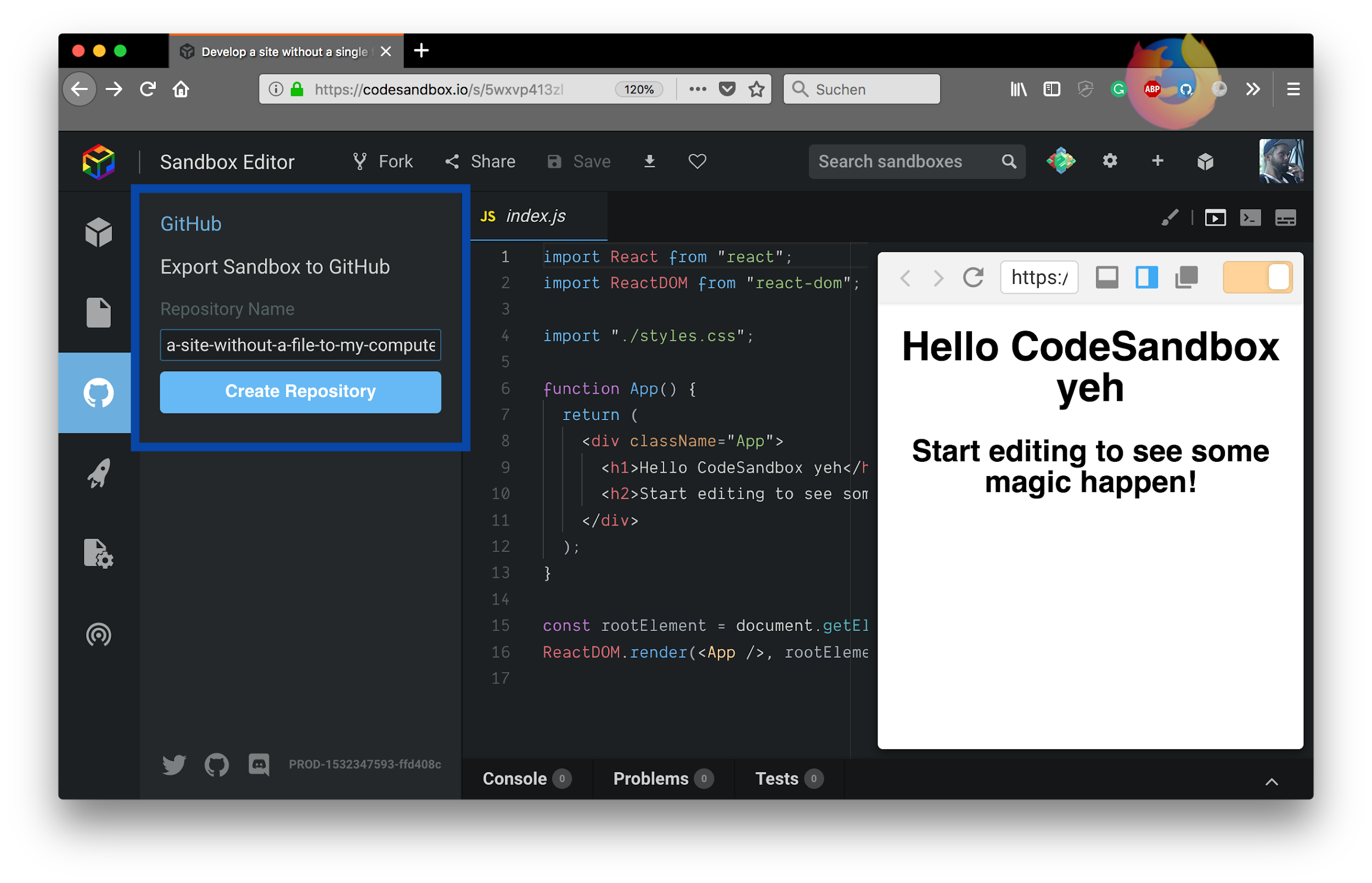 GitHub integration in CodeSandbox