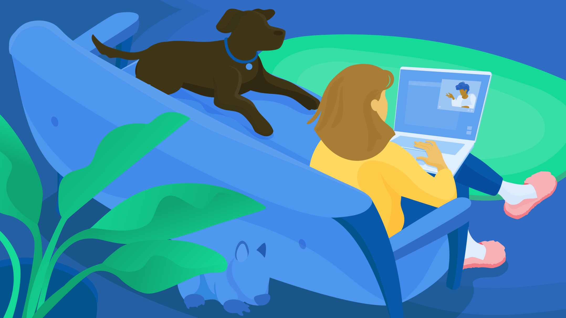 Illustration of a woman working from home with her dog sitting on the couch with her