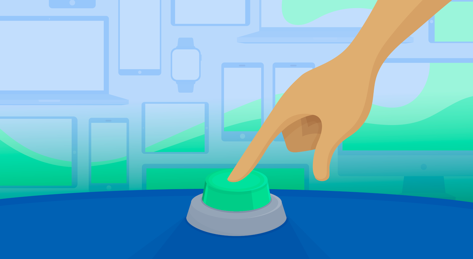 An illustration of a finger pushing a green button.