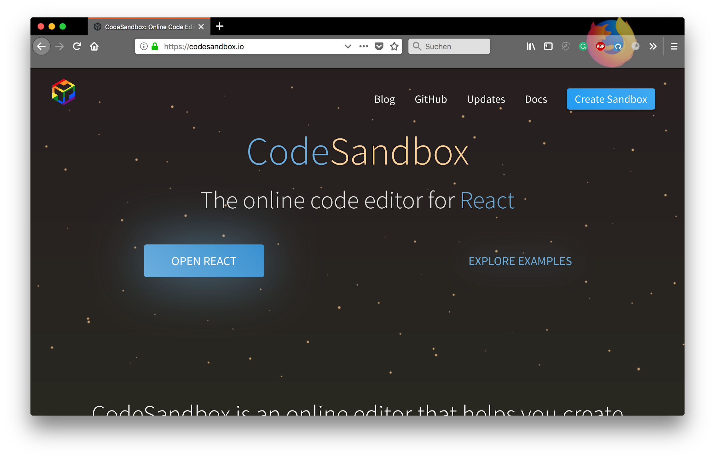 CodeSandbox for React prototyping