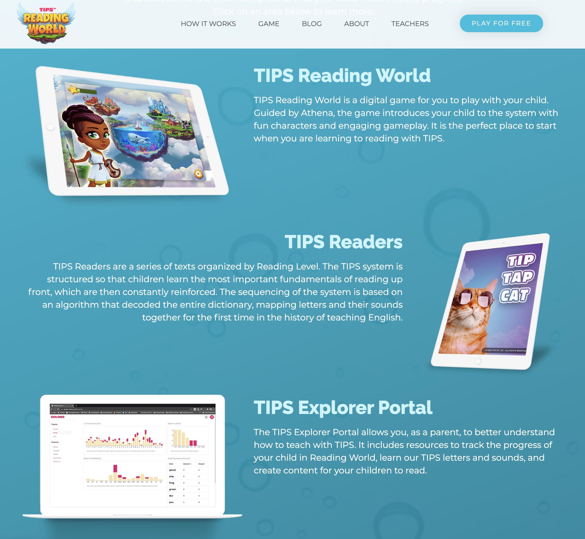 Screenshot of TinyIvy curriculum