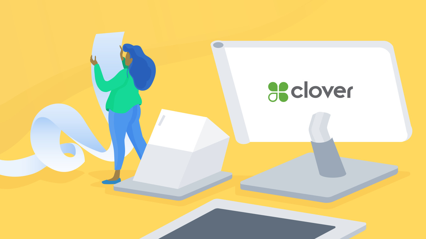 Blog header, illustration of person using a clover device
