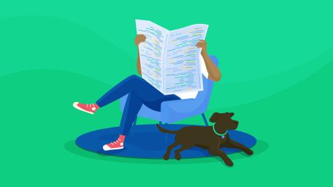 An illustration of a person sitting with a newspaper with code written on its cover, a dog sitting at their heels.