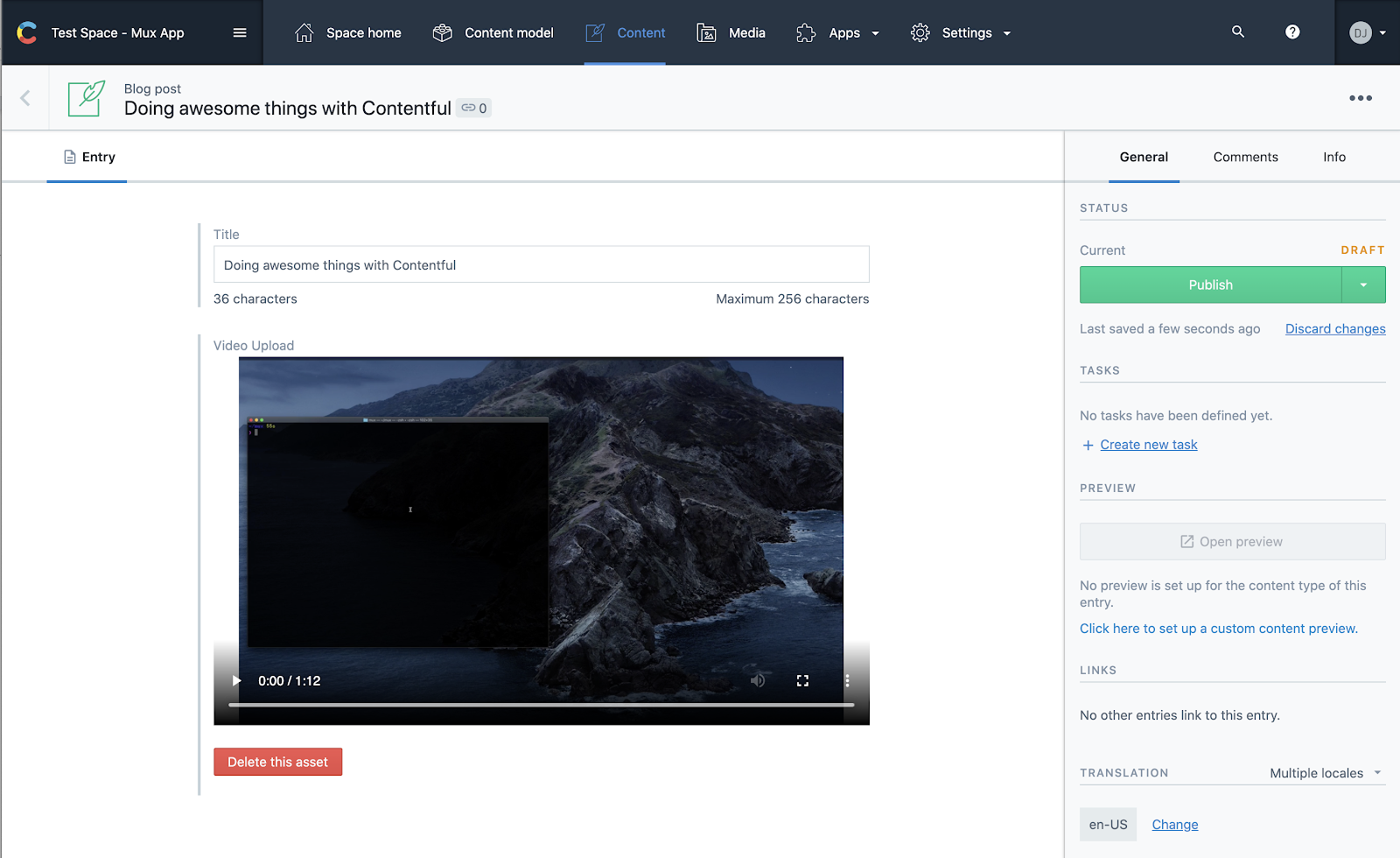 What Mux HLS API video looks like in Contentful