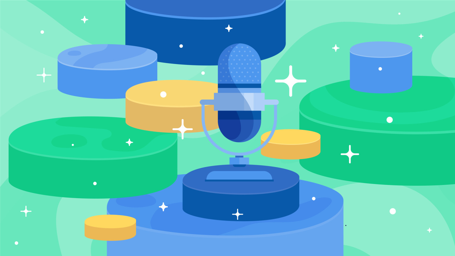 A microphone surrounded by sparkles and stacks, how to start a podcast