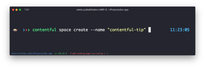 Screenshot of the process of using CLItool to create a Contentful space