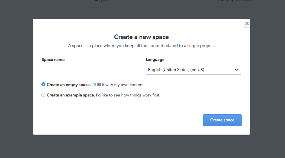 Blog in five minutes - Create new space