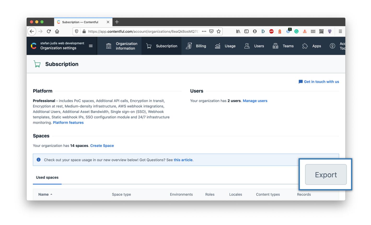 Screenshot of a contentful cotent model