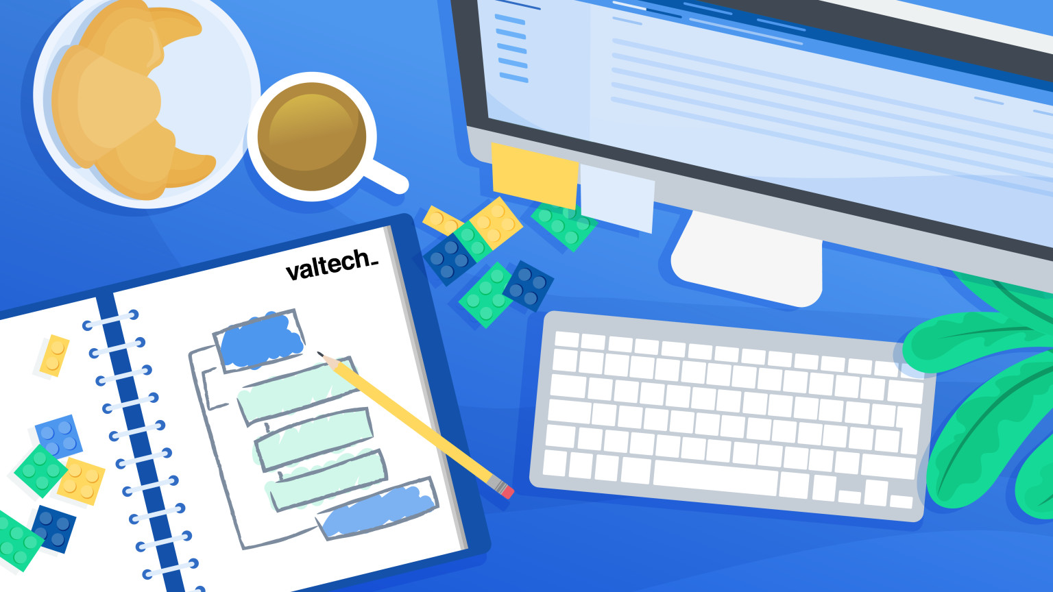 Desk of a Valtech content model professional, with a computer and breakfast