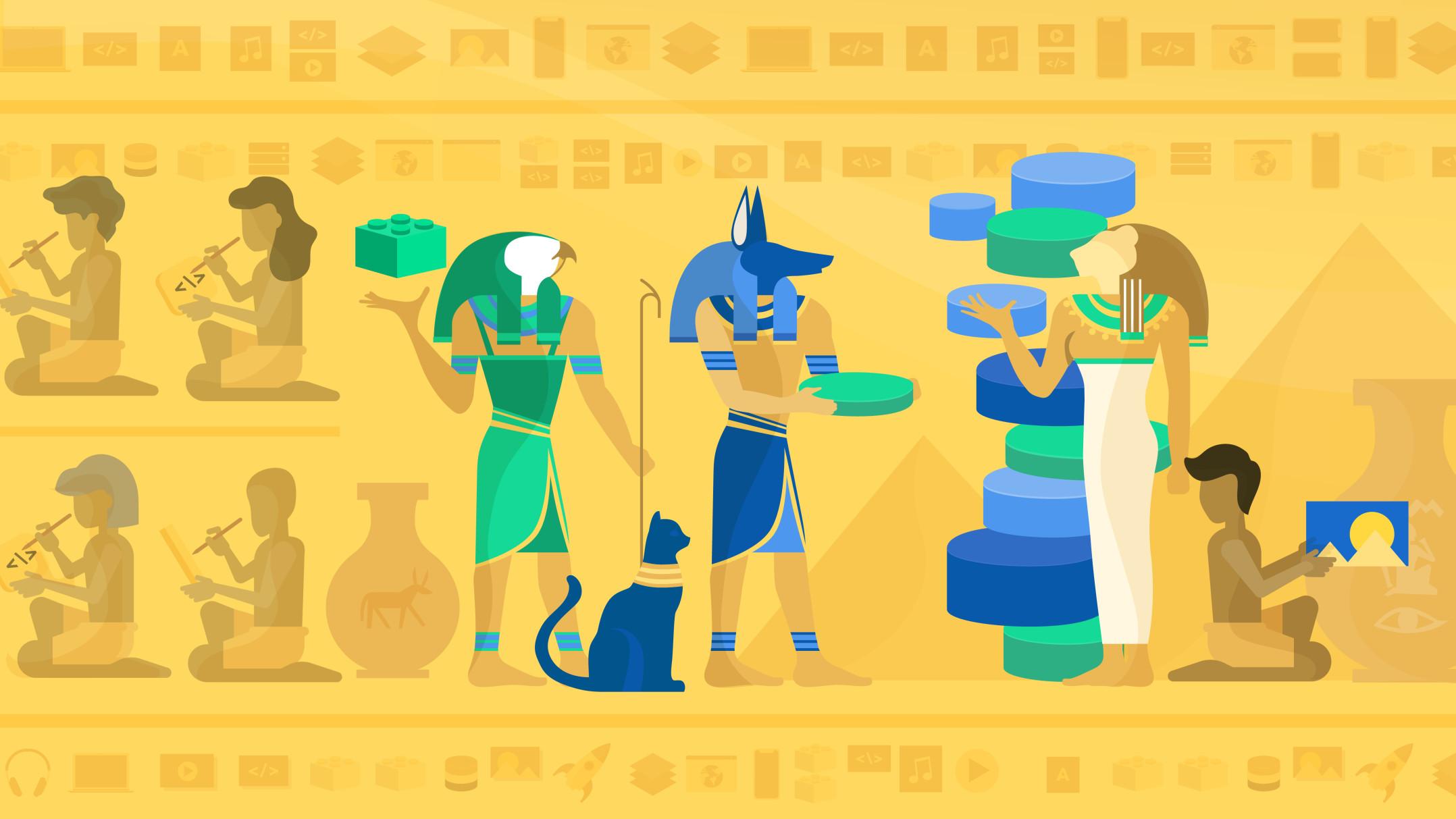 Egyptian hieroglyphics representing history of CMS building