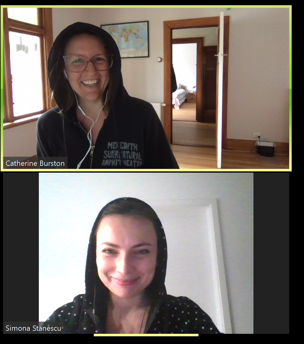 Caption: Cat Burston checks in with her manager, Simona Stanescu, director of customer support. Although they live 11,247 miles apart, they still managed to show up for their video call in the same outfit.