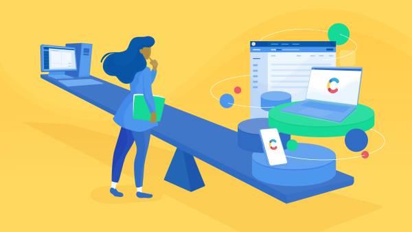 A woman weighing wordpress alternative Contentful against Wordpress
