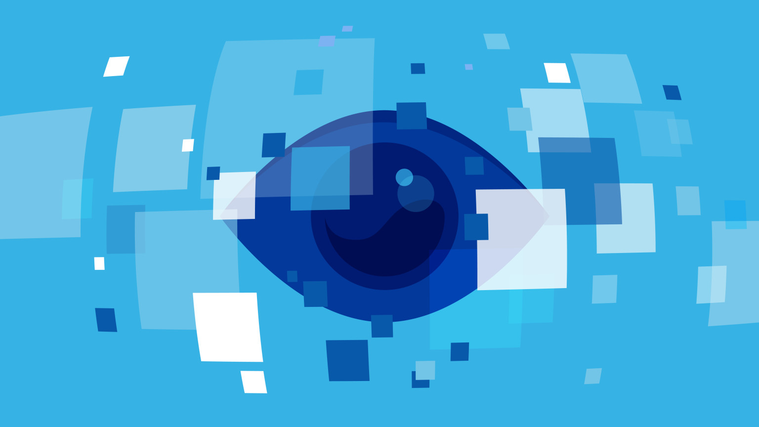 An illustration of a large eye looking at a number of transparent screens