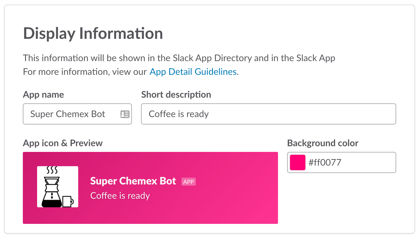 "We called our little helper ""Super Chemex Bot"" and it gave it a nice, steaming Chemex container as its avatar."