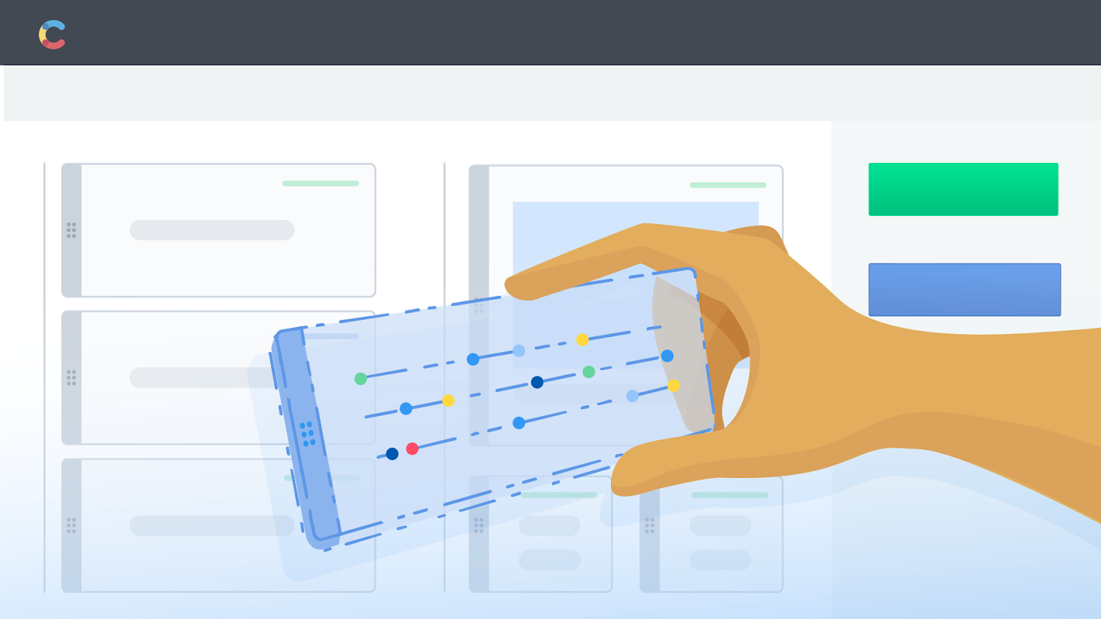 Illustration of a hand holding a digital piece of content and inputting it into he Contentful app