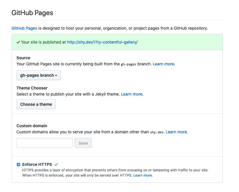 Screenshot of Github pages settings