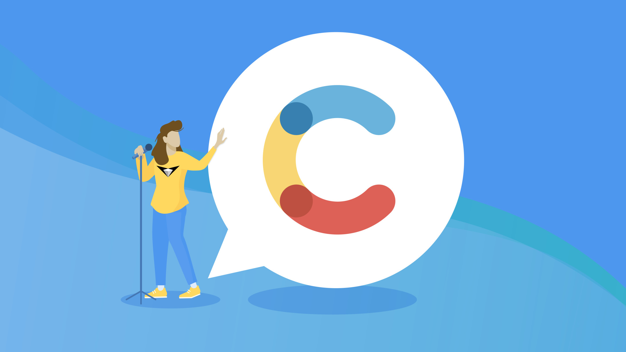 Blog header with an illustration of woman speaking Contentful