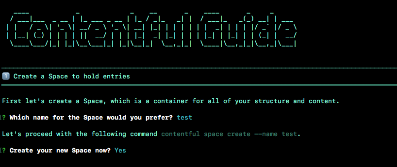 Contentful CLI tool contentful guide screenshot