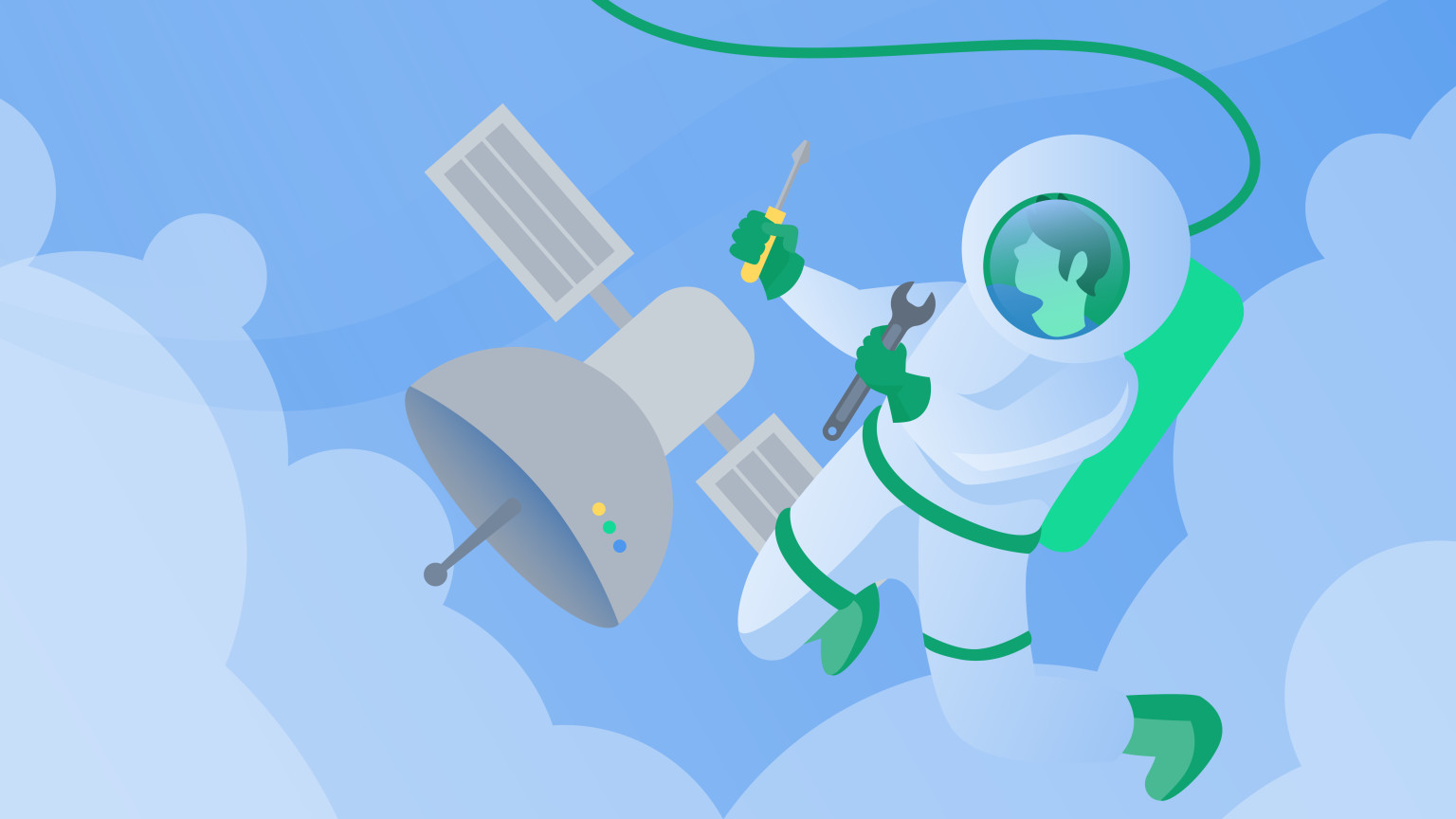 Space person floating near a satellite.