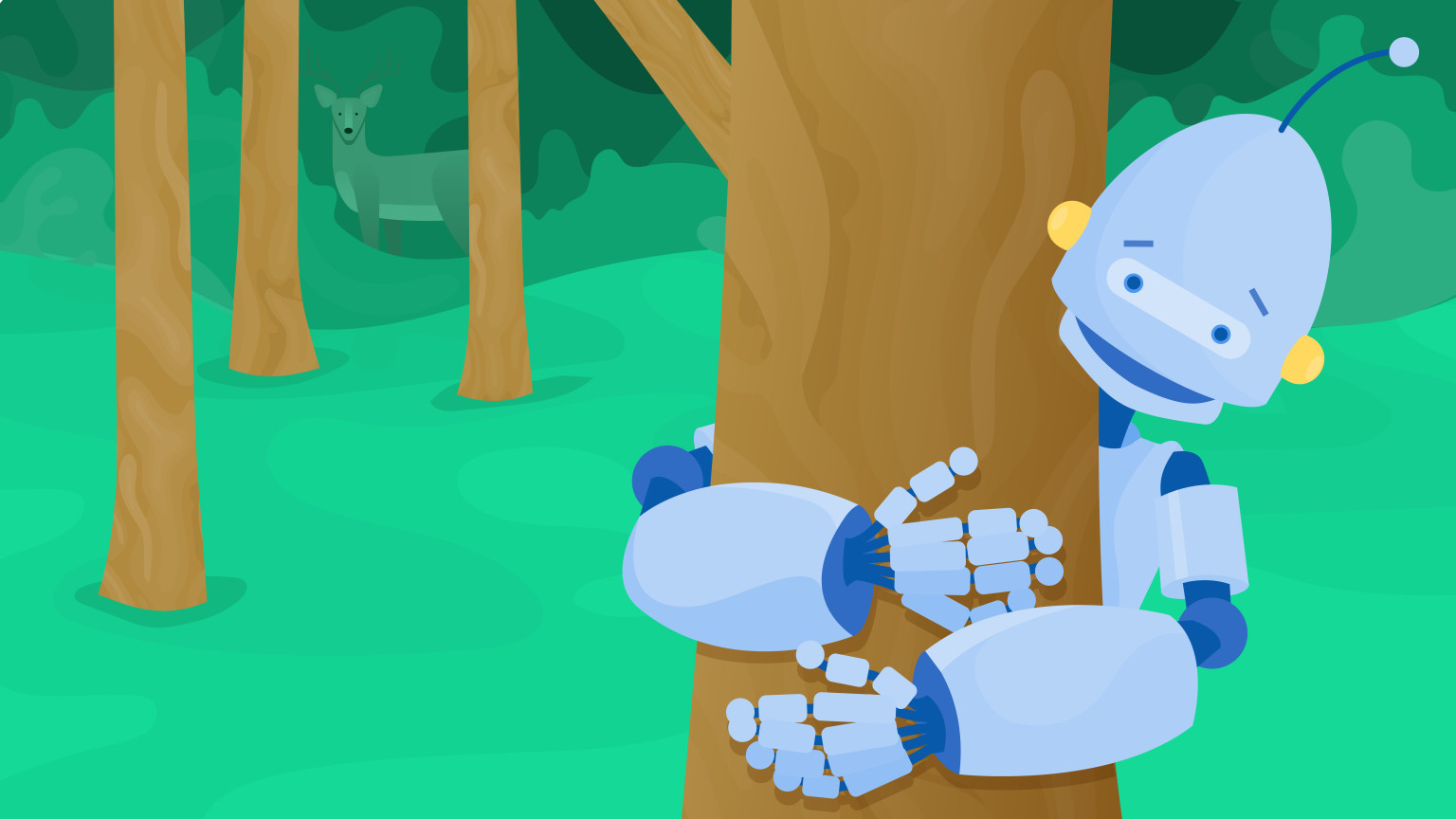 Image of a robot hugging a tree with a cute deer in the background.