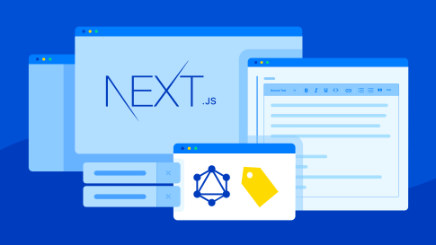 Illustration of desktop windows with next.js, graphql and tag functionality logos open.