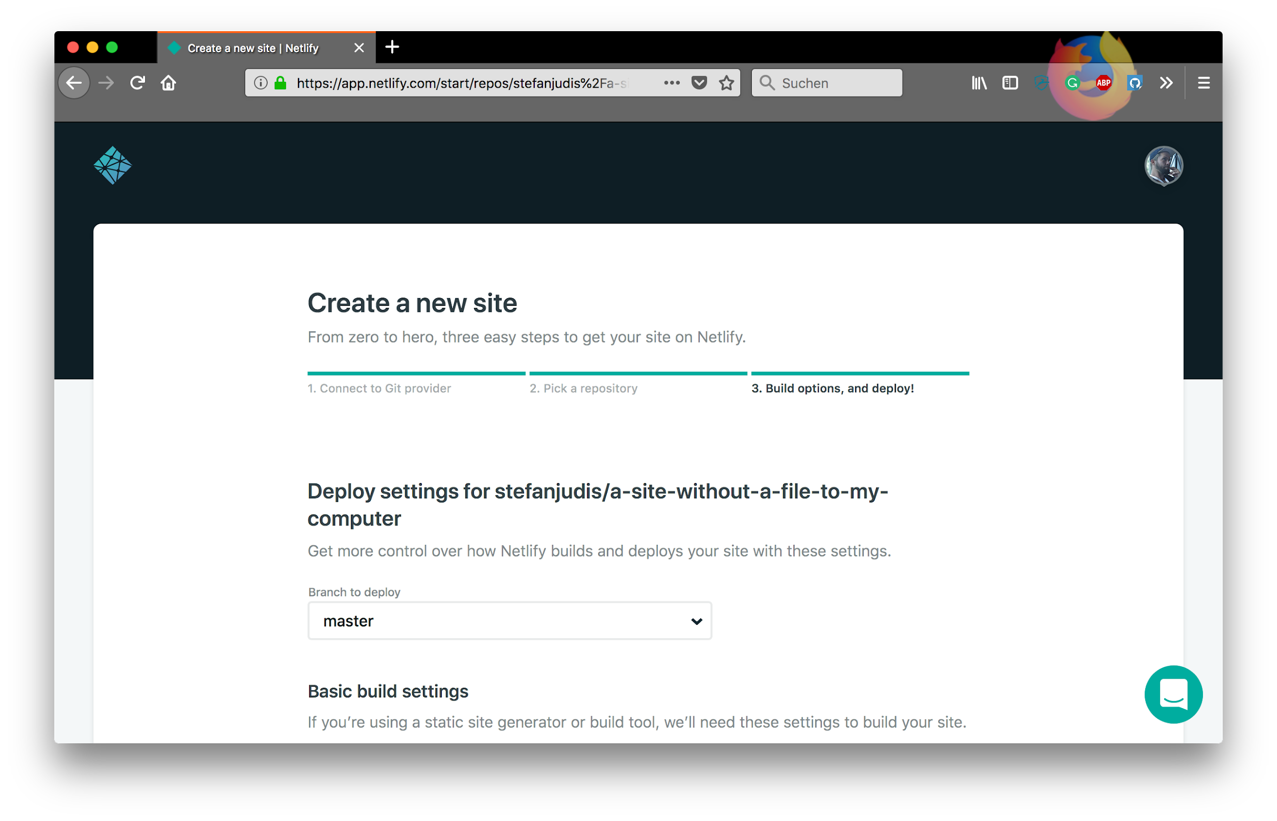 Deploy a site by importing a specific GitHub repository