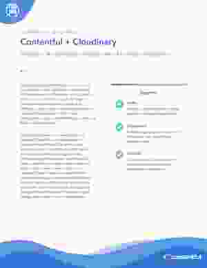 Cover for Contentful and Cloudinary Solution Sheet PDF