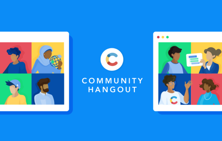 An illustration of two windows with video calls, with the Contentful logo and Community Hangout written in the center.