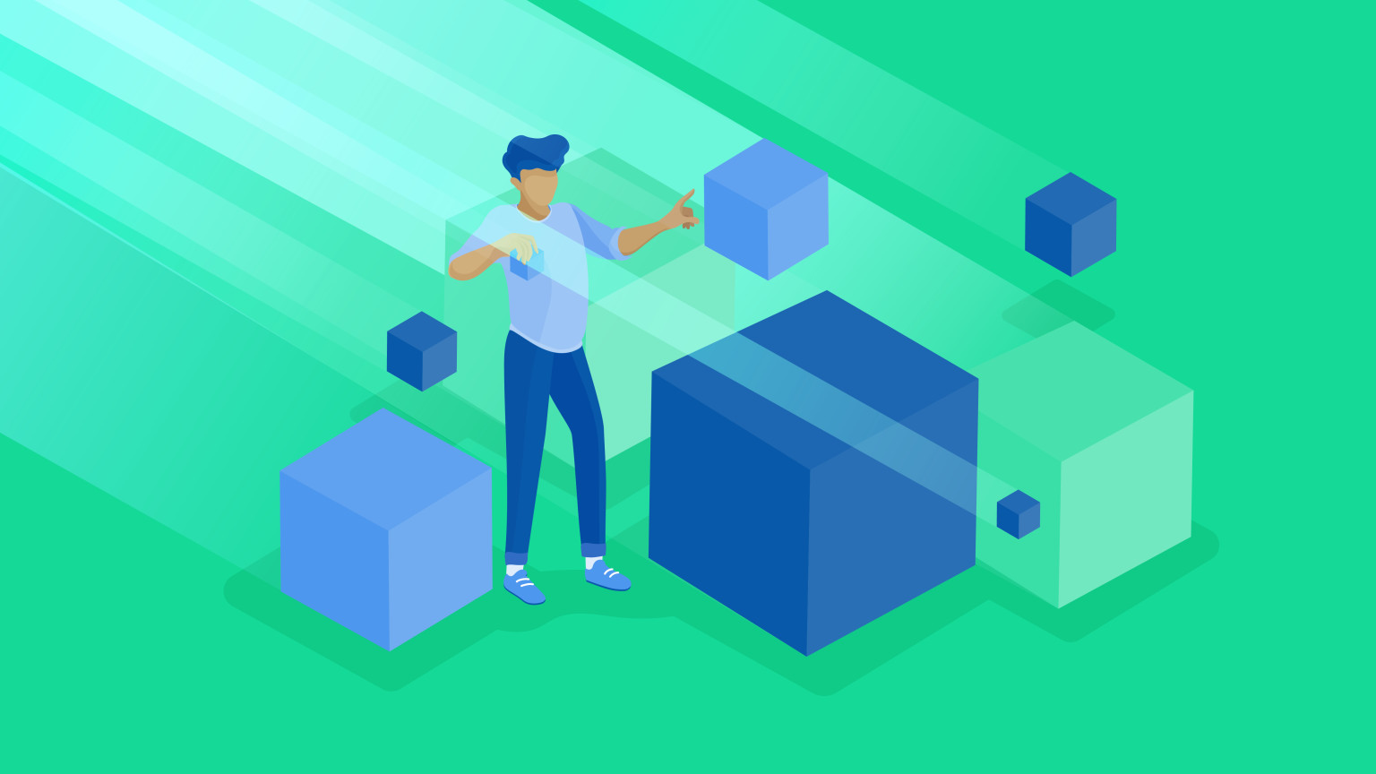 An illustration of a person manipulating cubes representing UI extensions.