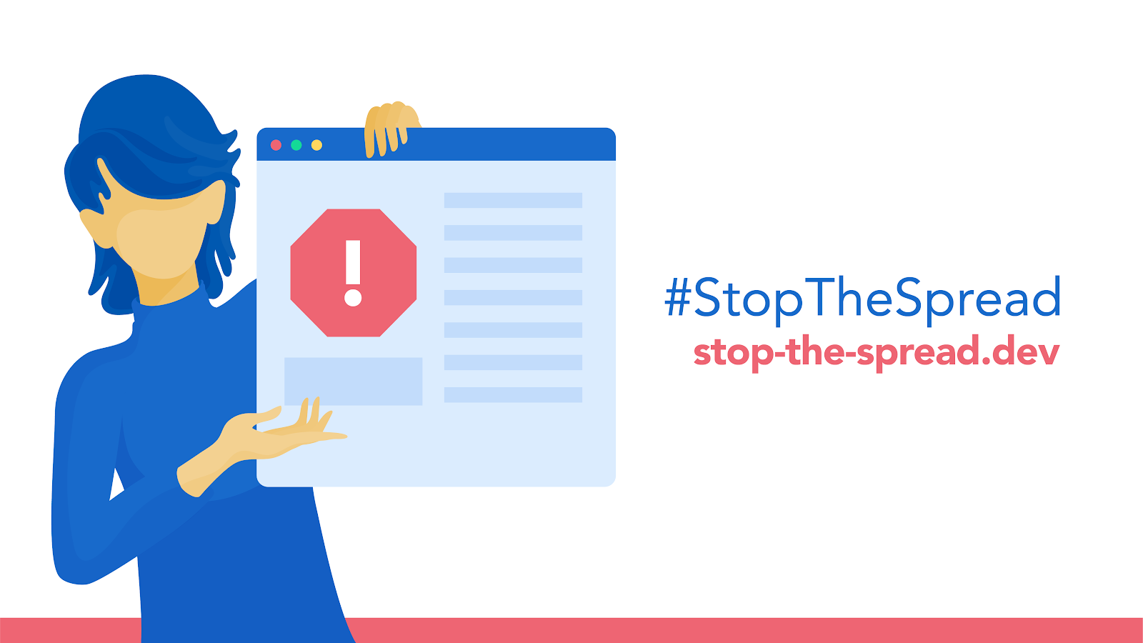 stop-the-spread.dev page banner with woman holding a page