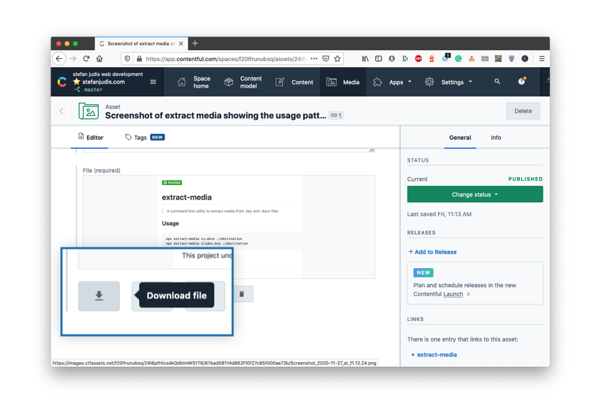 Screenshot emphasizing the Download file button in the Contentful App
