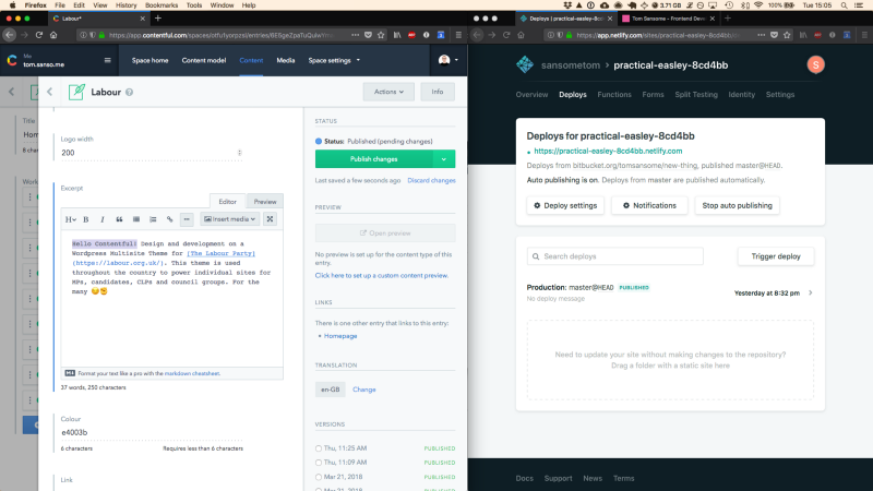 Testing the webhook setup: Editing content