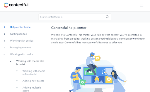 A screenshot of the Contentful help center page