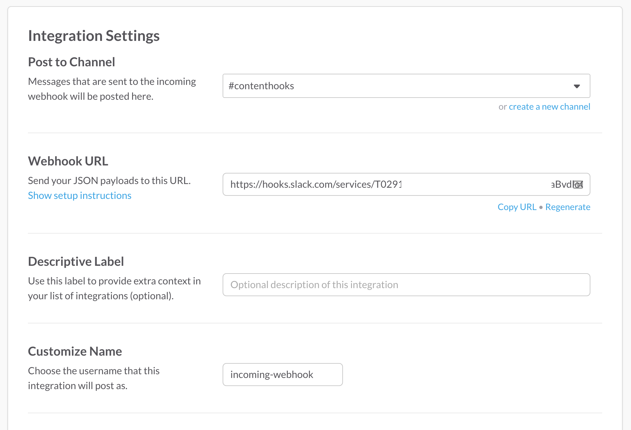 contentful-to-slack  slack-settings