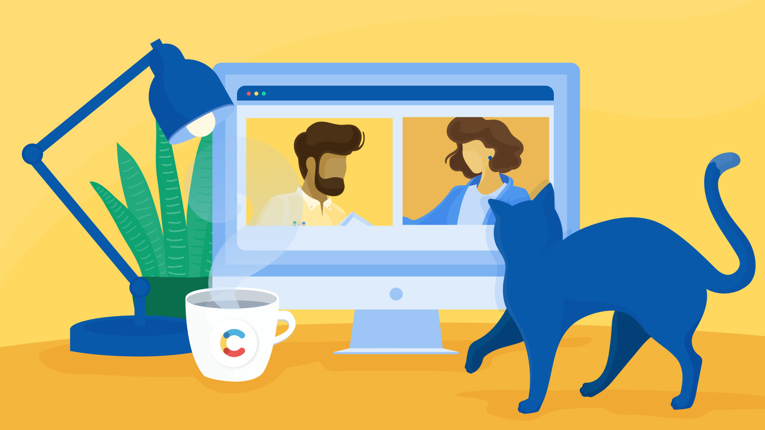 Two people from different companies talking to each other through video call, with a cat in the foreground