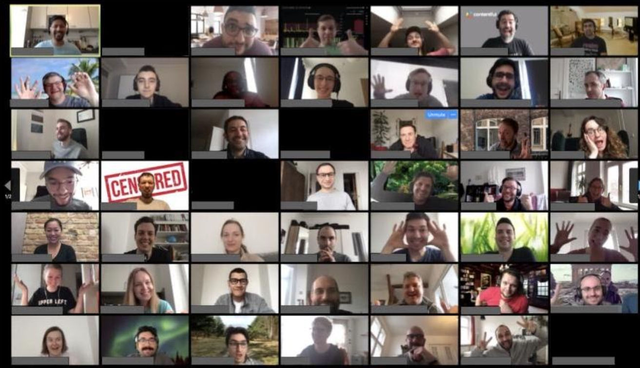 A videocall meeting with 80 people