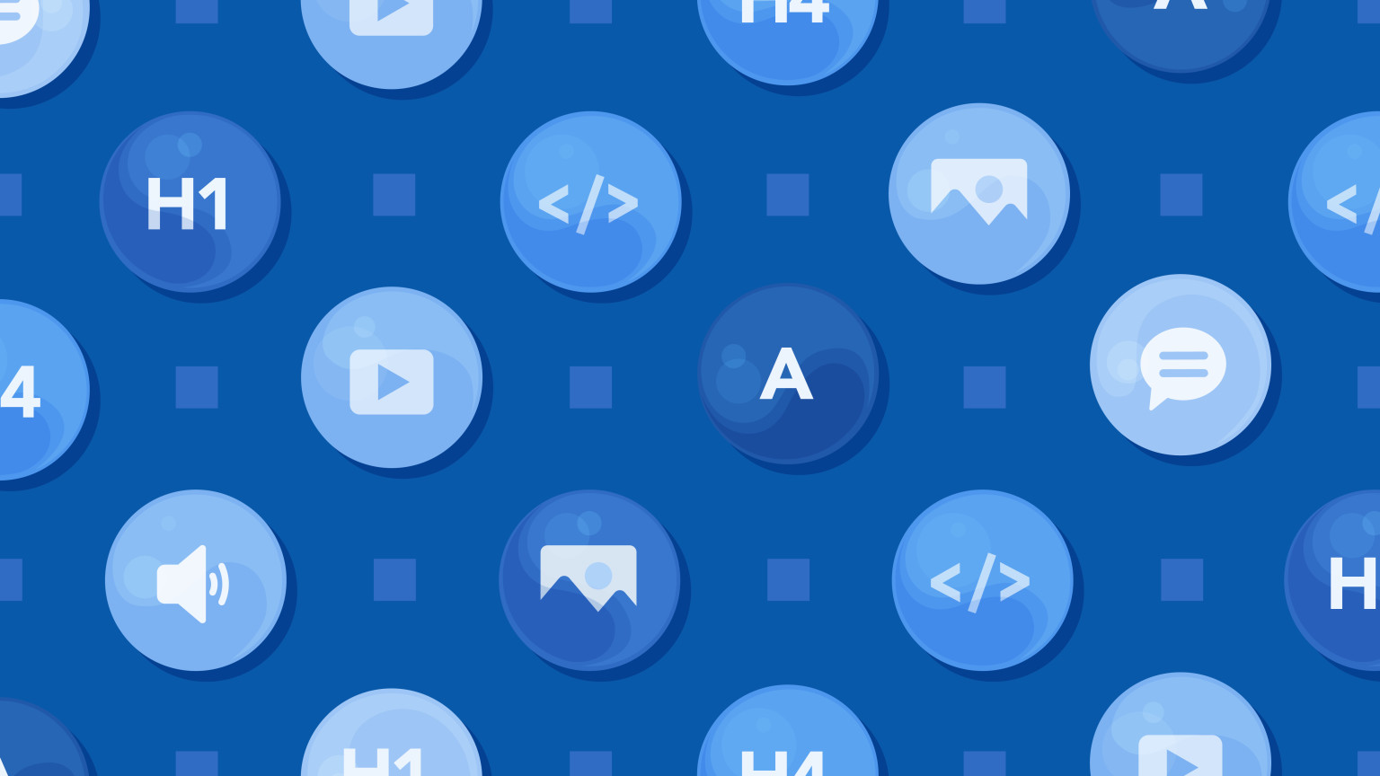 An illustration depicting different icons contained in bubbles in a pattern.
