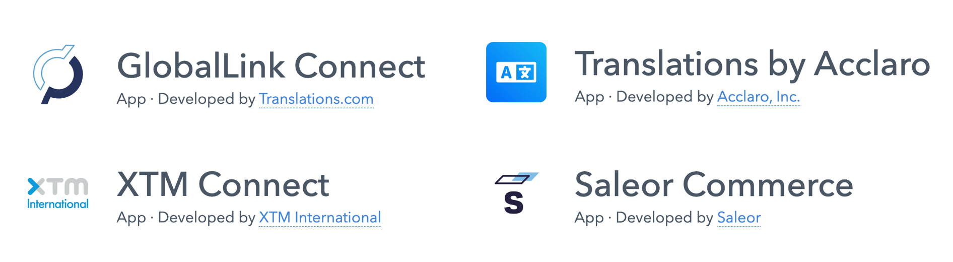 A list of four new apps in the Contenful app marketplace: GlobalLink Connect, XTM Conncet, Saleor Commerce and Translations by Acclaro