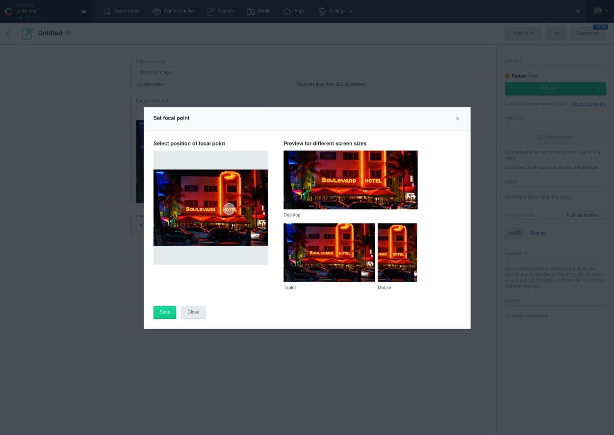 screenshot of Contentful image focal point app
