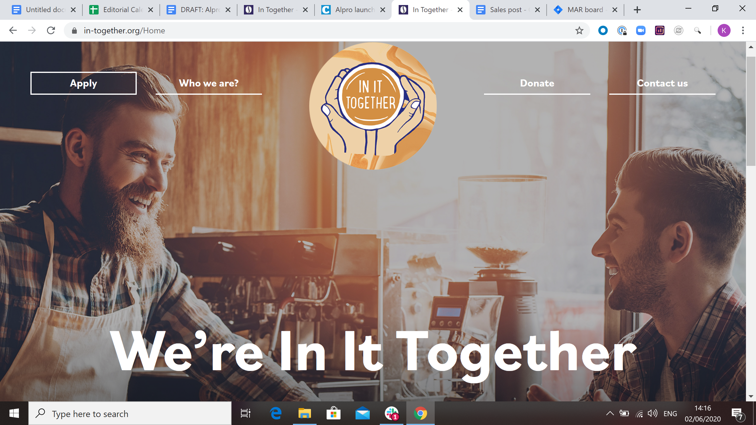 Screenshot of the we're in it together webpage