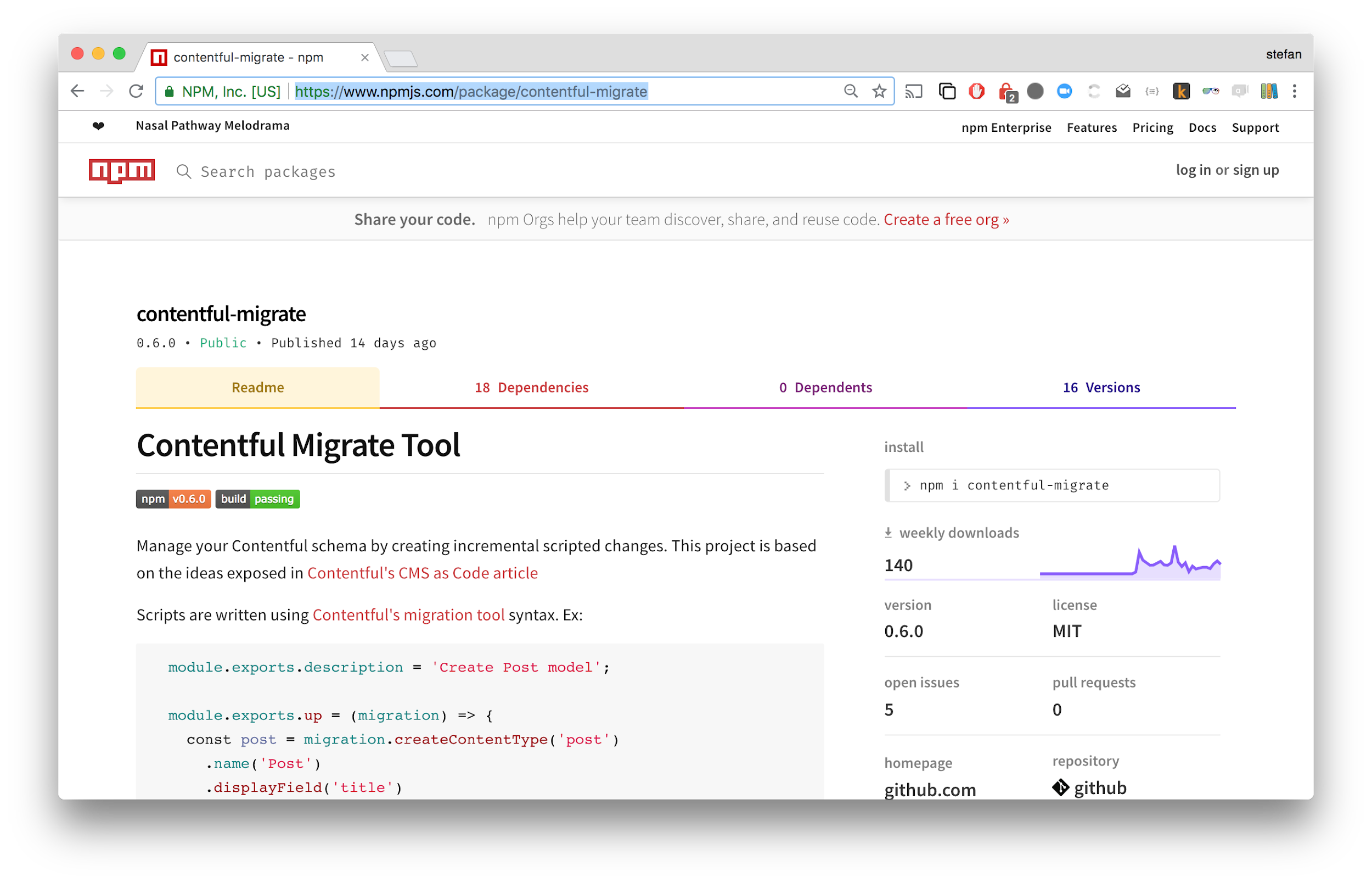 Contentful migrate tool