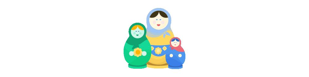 Illustration of three Matryoshka nesting dolls standing together, smiling