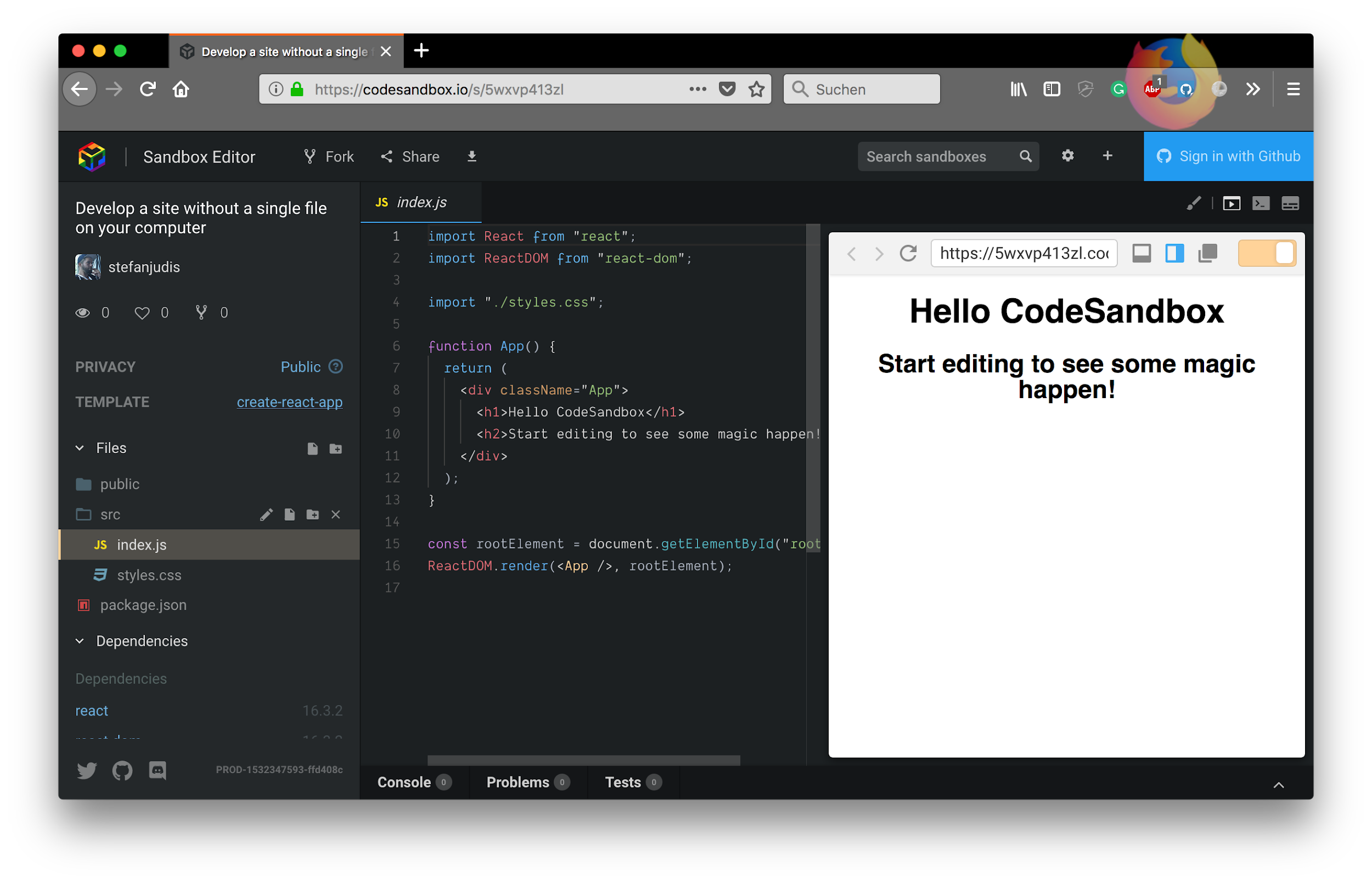 Codebase to enter React development