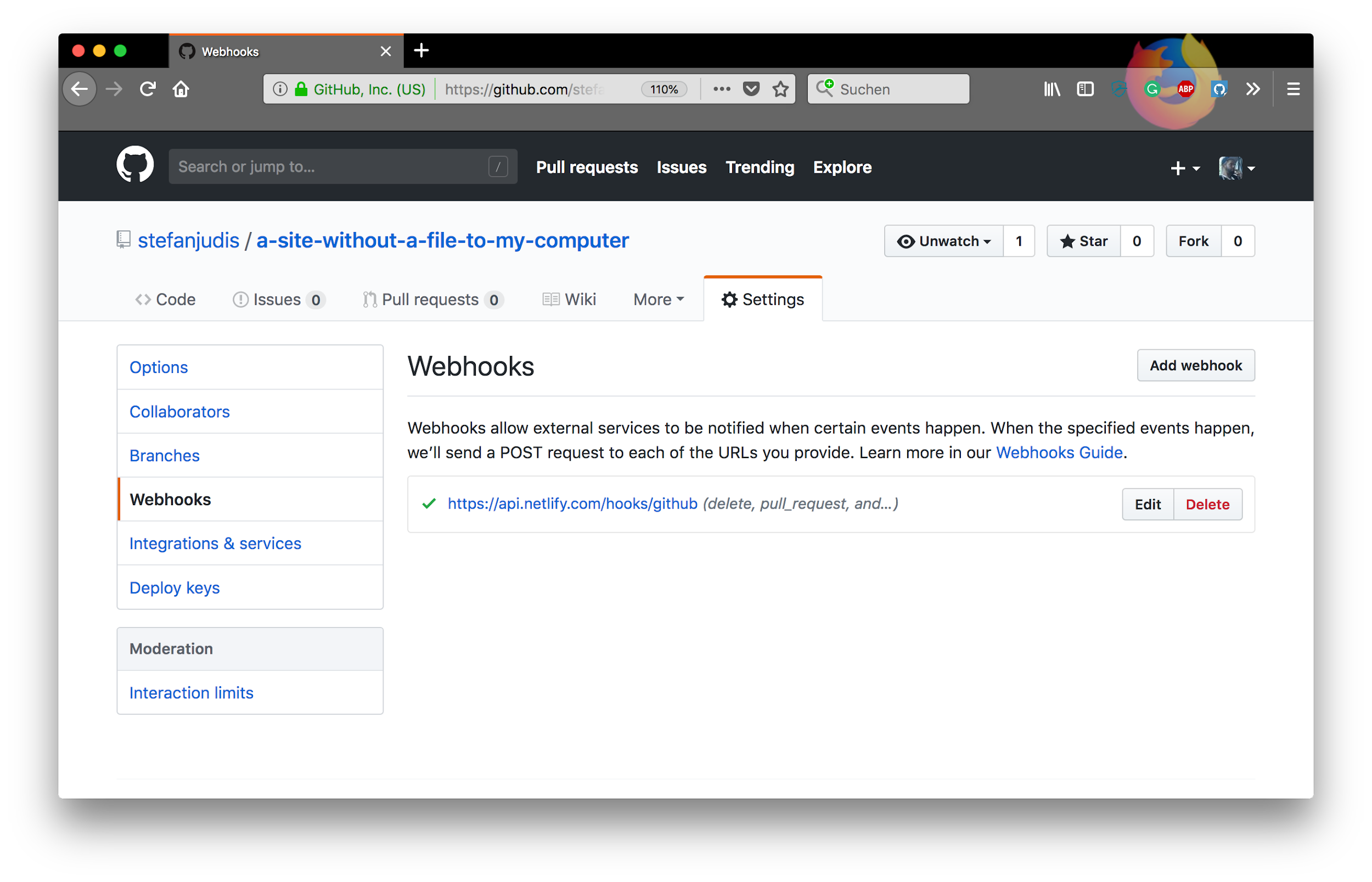 Webhooks to automatically redeploy your site