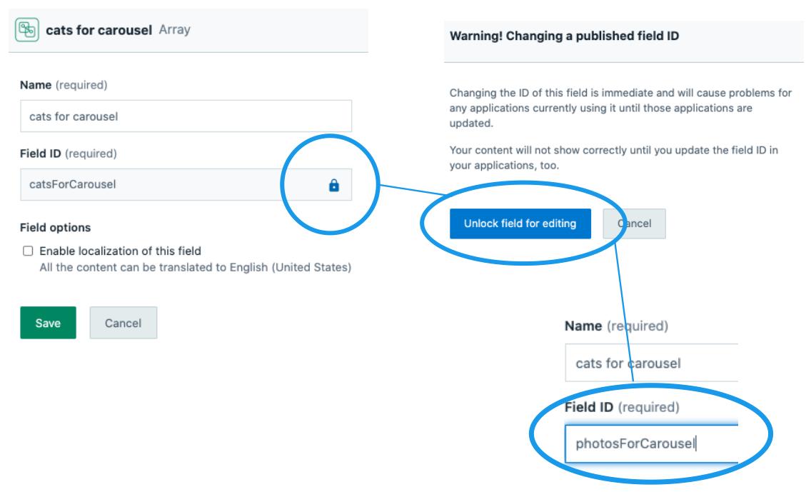 Changing a published field ID screenshot