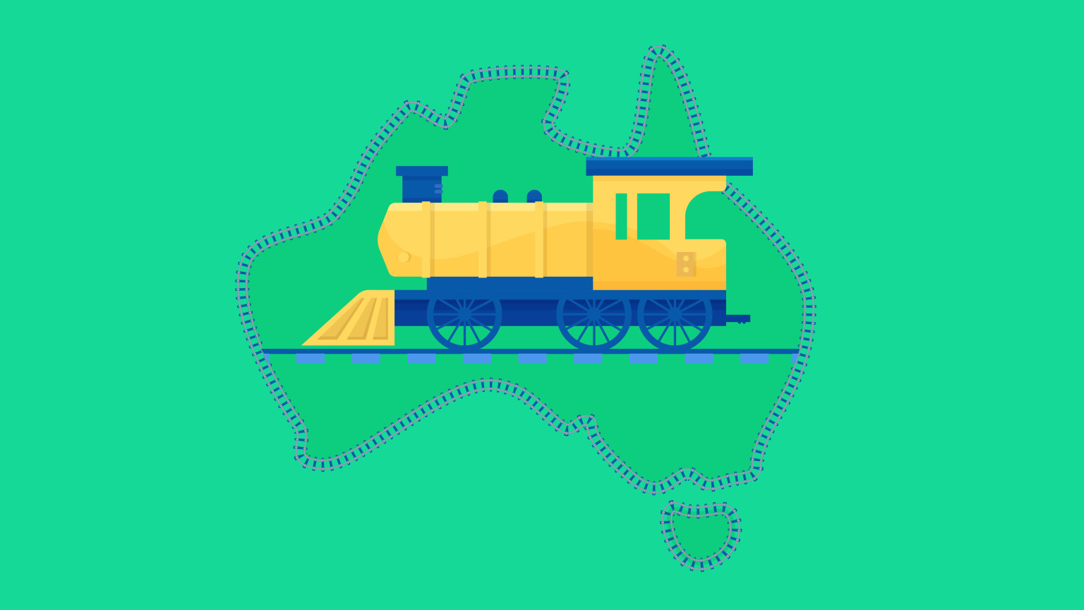 An illustration depicting a locomotive framed by the Austrlian continent outline.