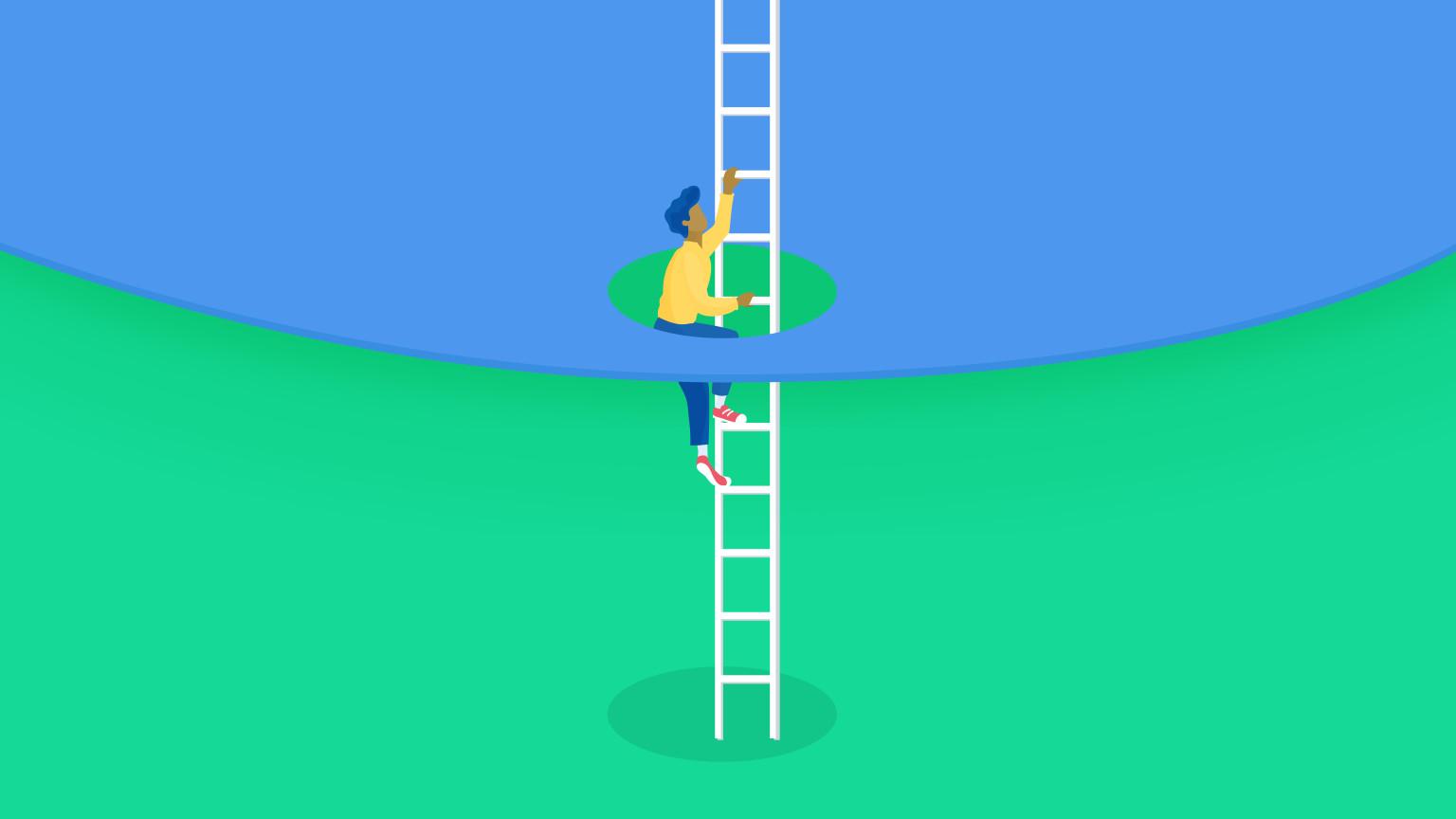 Person clumbing an App Framework ladder to evolving