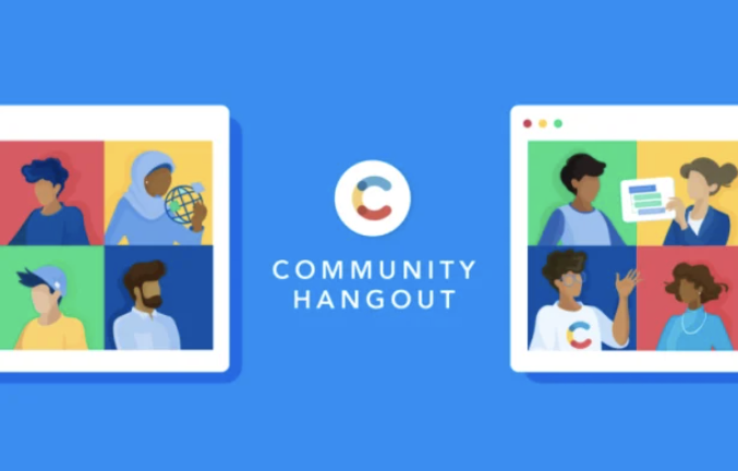 Illustrated image with individuals on two screens, with a Contentful logo and community hangout written in the middle.