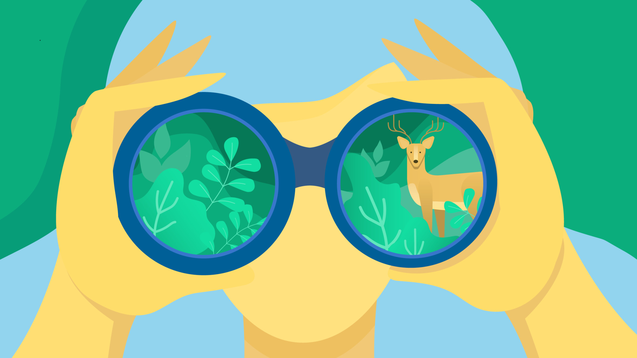 Organic search: a human figure looking at organic materials through binoculars.