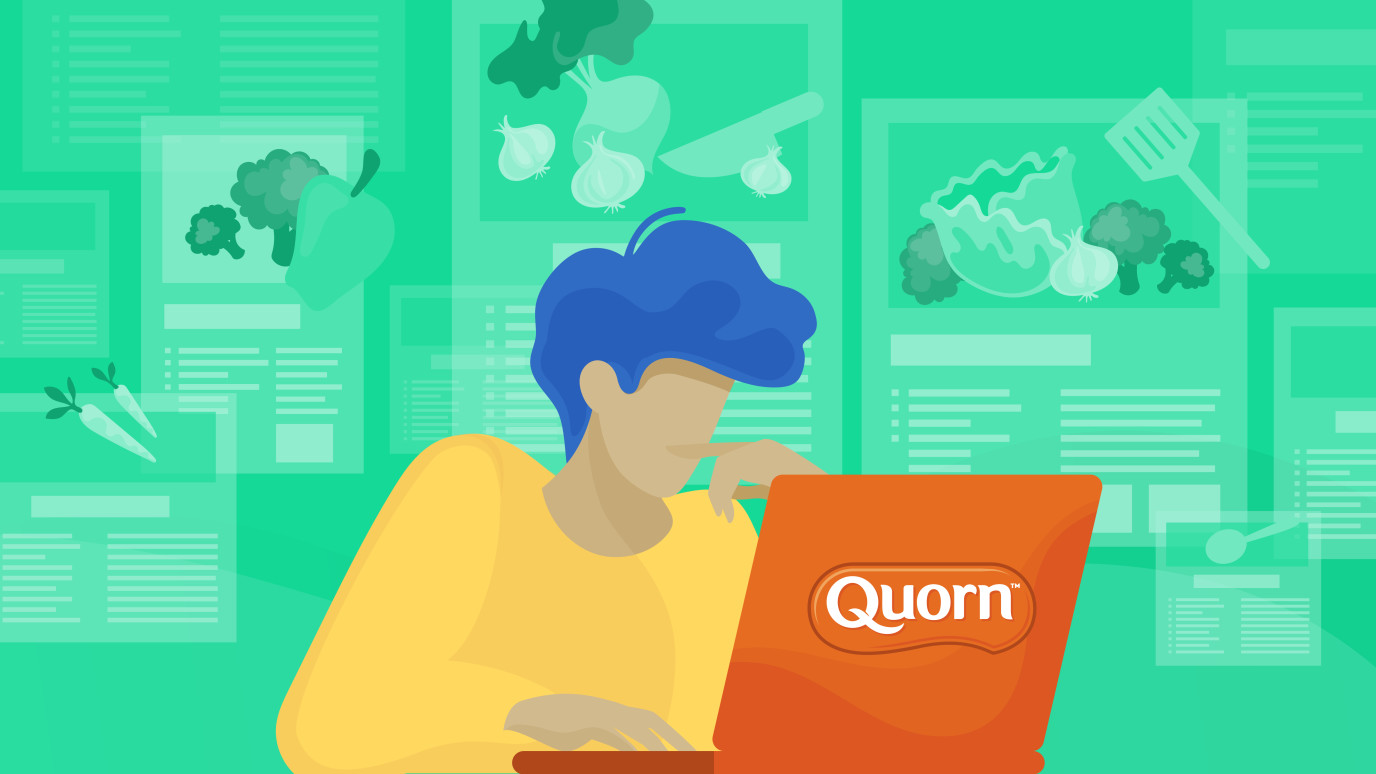 Illustration of person at a computer with Quorn illustrations behind the individual.